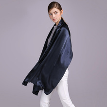 100% Silk Satin Long Scarf 55X180cm Pure Mulberry Silk Plain Color Silk Scarf Factory Direct Online Store 43 Dark Blue(China)