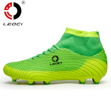 Leoci Men  Soccer Shoes High Ankle Football Boots Plus Size Soccer Cleat Boots Kids Boys Football Shoes Chaussures de Foot S001