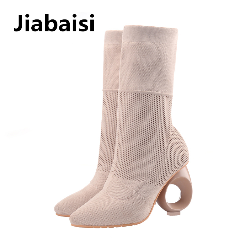 Jiabaisi shoes womens Woven Elastic Carving Calf Sock boots Pointed Toe Hollow out slip on Soft Fashion Womens Shank booties<br>