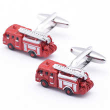 Men's Shirt Cufflinks Metal Copper Men Enamel Red Bus Cuff Links For Wedding Party Fashion Simple Men Sleeve Shirt Cufflinks