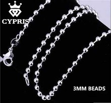 "SALE 16""18""20""22""24"" 3MM Silver Beads Popcorn Chain Necklace Silver Jewelry Findings CYPRIS bulk wholesale jewellery accessory(China)"