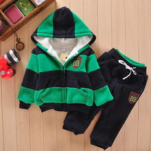 VANGULL 2018 Children Winter Clothes sets Baby Boys 2 pieces sets girls hoodies jacket+ pants Plus velvet thickening fashion(China)