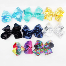 "25pcs/lot 4.7"" Embroidered Rainbow Sequin Hair Bow Without Clips Solid Glitter Bow For Girls Kids Hair Accessories(China)"