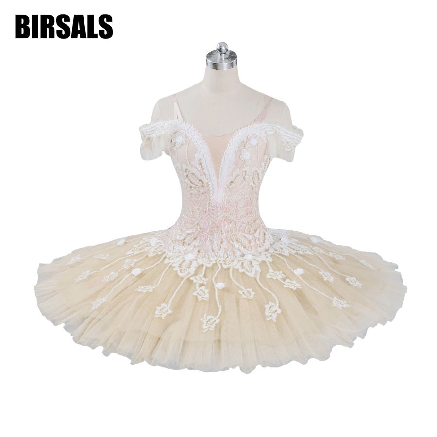 Beige Fairy Harlequinade Variation Professional Ballet Tutu Dress Kids Performance Competiton Tutu Costume BT9073