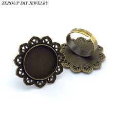 ZEROUP 20mm 5pcs Ring Setting Antique Bronze Copper Plated Adjustable Round Glass Cabochon Blank Base Supplies for Jewelry F25(China)