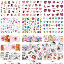 48 Designs Nails Sets Fashion Summer Flower/Jewelry/Newspaper DIY Full Cover Sticker Nail Art Decals Water Sticker BN553-600(China)