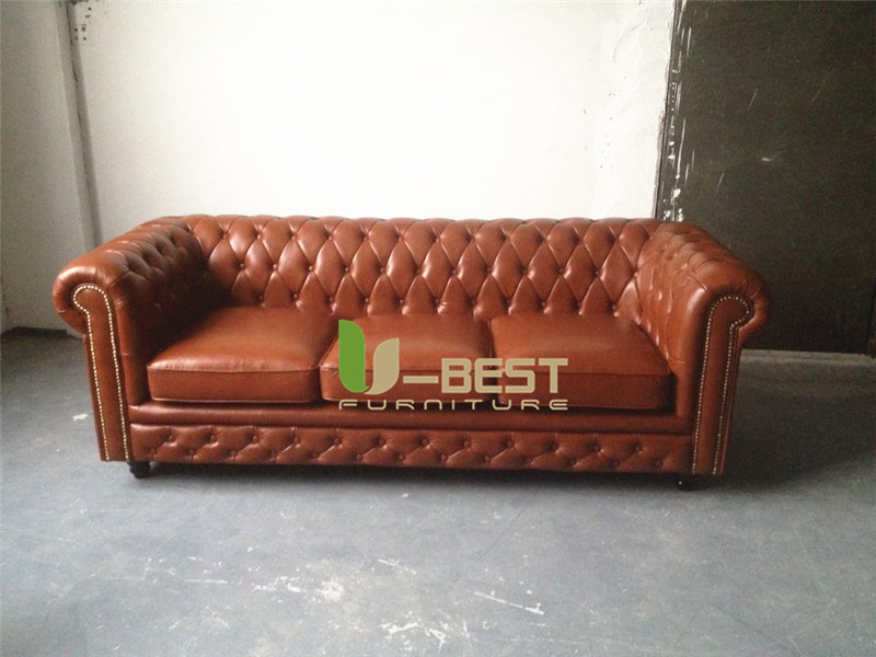brown real leather chesterfield sofa living room sofa (1)
