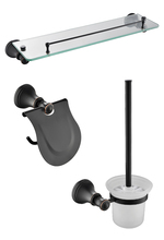 Oil Rubbed Bronze 3-Piece Bathroom Hardware Accessory Set glass shelf paper holder Toilet brush holder(China)