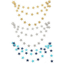 2016 New 4M Paper Garlands Birthday Wedding Mariage Party Room Door Festival Star Decoration Gold Blue(China)