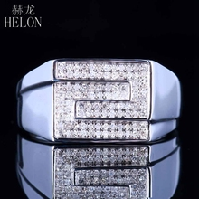 HELON Mens Anniversary Genuine Diamond Ring Sterling Silver 925 Band Pave Engagement Wedding Fine Jewelry Ring Mens Ring(China)