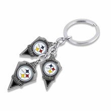 Trendy Zinc Alloy American Football Team Pittsburgh Steelers Logo Charm Car Key Chain For Sport Fans Keyring Gift