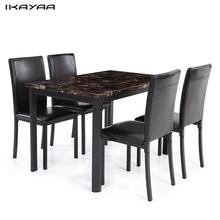 iKayaa US Stock 5PCS Kitchen Dining Room Table Chair Set for 4 Person Beautiful Marble-like Top Max 180kg Load Capacity