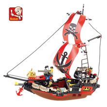 379 pieces baby boy blocks plastic Model Building Kits pirate ship bricks toys boy style building Army toys N0127(China)