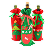 100pcs  Santa Claus Gift Bags Christmas Wine Bottle Cover Xmas Dinner Party Table Decorations Christmas Tree Hanging Ornaments