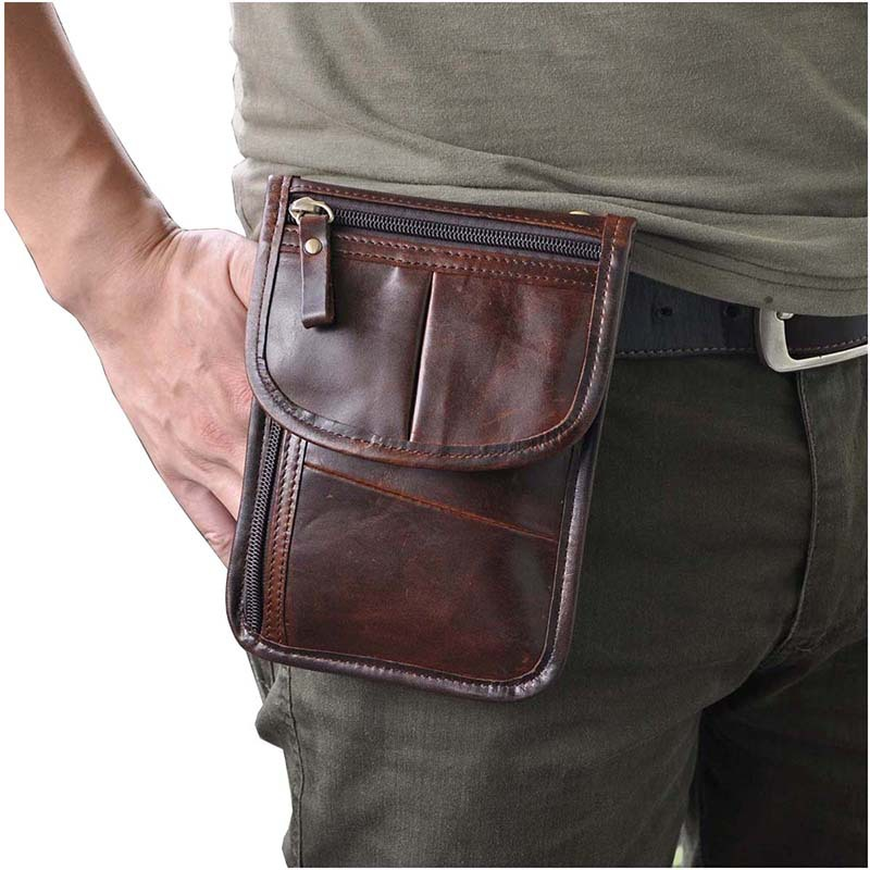 7 inch Men Genuine Leather Belt Fanny Waist Pack Cell Phone Pocket small leather casual Messenger Bag <br><br>Aliexpress