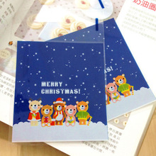 ST Size 10x11+3cm Blue Christmas Teddy bears Cellophane Cookie Bag,Bakery Gift Packing Bags 100pcs/lot