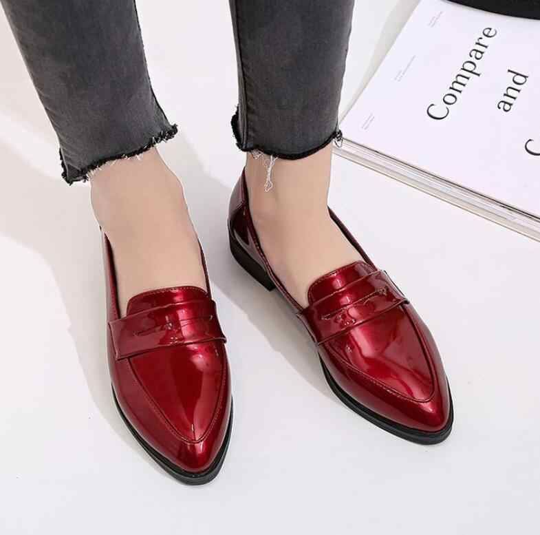 d3c1490eb74 classic Women Fashion Casual Lady Leather shoes Female Pointed Toe Flat  Loafers Slip-On Shoes