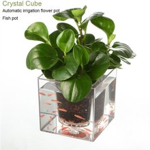 Clear Aquarium Self Watering Pot Planter Plant Fish Tank Vase Automatic Drip Irrigation Flower Pot Resin Plastic Crystal Cube(China)