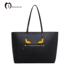 MORESHINE Women Little Monster PU leather Handbags Eyes design women's medium tote bag Female UK's Goldsmith Line shoulder bag