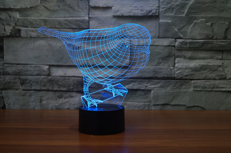 Robin Birds 3D Optical Illusion Night Light, Multi Colors LED Night Light, Home Decor for Baby Nursery and Kids Gift (4)