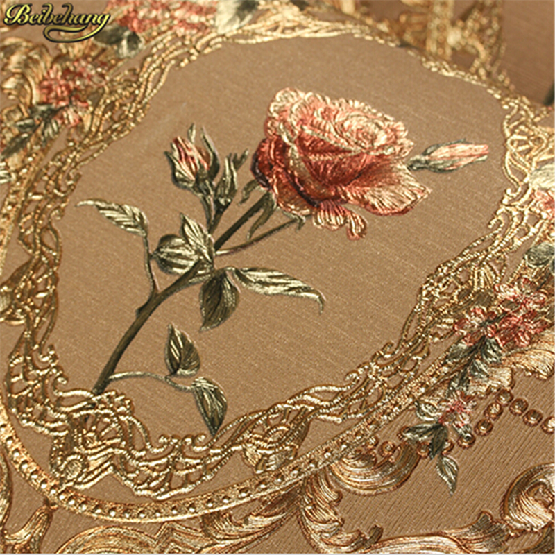 beibehang New luxury European golden floral wallpaper Luxury Rose flowers background wallpaper For bedroom 3D Gold foil Wall<br>