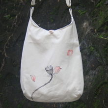 AETOO  New hand-painted package Japanese style Chinese flower lotus original hand-painted cotton and linen canvas bag Zen meanin
