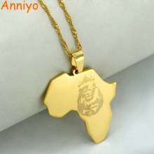 Anniyo Gold Color Africa Map With Lion Pendant With Thin Chain Necklaces African Maps Jewelry 2017 New #010821(China)