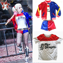 2017 New Girls Kids Suicide Squad Harley Quinn JOKER cosplay Costume Outfit Set halloween children gift jacket costumes