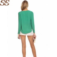 Women Blouses Sheer Work Ladies Office Shirts V-Neck Chiffon Cheap Clothes China Tops Plus Size Blusas Summer Long Sleeve H54