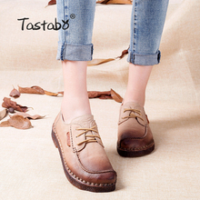 Tastabo Autumn Moccasins For Women Genuine Leather Shoes Flats Footwear Casual lace round toe Retro Shoes Large Size Shoe Women(China)