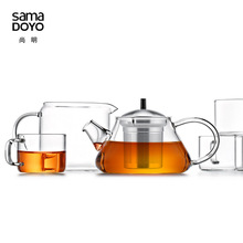 Samadoyo Glass Teapot  Handmade thicken heat-resistant with stainless steel filter 8-piece Gong Fu Tea Service Suit T108