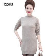 XJXKS Mother Clothing Women Pullovers Long Sweaters Acrylic Wool Material Comfortable Sweater Dresses S-XXXL Jumper