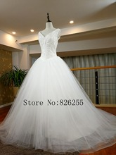 New Model Fashion Luxury Ball Gown Tulle Wedding Dress/Bridal Gown with Beading ZH0606 Custom Size/Color Free Shipping(China)