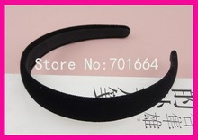 10PCS 2.0cm Black Velvet Fabric Covered Plain Plastic Hair Headbands with black velvet back,BARGAIN for BULK