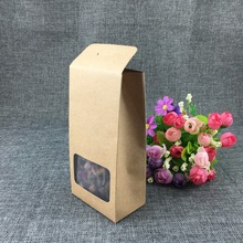 50pcs/lot 16*8*5cm gift cardboard boxes with window gift boxes wholesale hook brown paper box packaging carton box