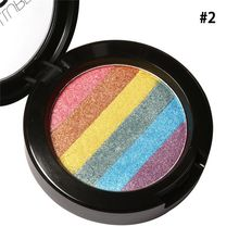 Hot Rainbow Highlighter Makeup Palette Cosmetic Blusher Shimmer Powder Contour Eye shadow Face Changing Highlight(China)