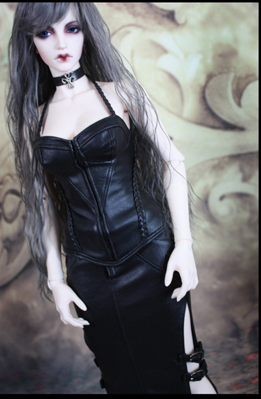 Sexy Gothic Style Leather Corset/Skirt for BJD Doll SD10 SD13 SDGR SD16 IP EID Woman Doll Clothes LF13<br>