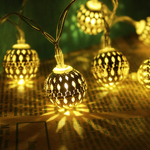 Free Shipping for 1m/2m/3m battery AA iron Ball String Fairy Lights Xmas Wedding Party Home Decoration Lamp Bulb(China)