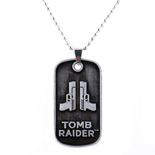 MEEHEE Tomb Raider 20 Year Celebration Pendant Necklace Beaded Chain Hot Game Dog Tag Necklaces Men Jewelry Game Fans Club Gifts