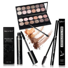 Women Value Pack Makeup Set 12 Color Eyeshadow+Sexy Eyeliner Pen+Mascara With 12 Mascara Brushes Kit Portable Eye Cosmetic Set