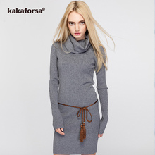 Buy Kakaforsa Casual Turtleneck Knitted Sweater Dress Female Long Sleeve Solid Robe Dress Women Autumn Winter Slim Dresses Vestidos for $26.99 in AliExpress store