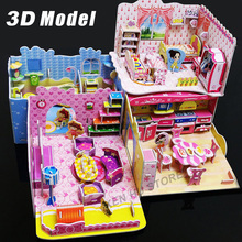 3D kids toys puzzle Bedroom Kitchen Living room Bathroom paper model building kit toys gift for children girls(China)
