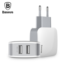 Baseus 2 USB Charger EU Plug Samsung Xiaomi Huawei 5V2.4A Dual USB Port Travel Wall Charger Smart Phone USB Charger adapter
