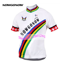 Man Swiss nowgonow bike wear 2017 leader cycling jersey Switzerland clothing pro team racing riding colorful rainbow