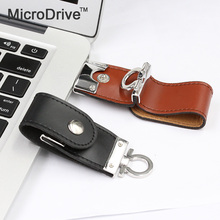Retail 100% real capacity PU Leather USB Flash Drive 4GB 8GB 16GB 32GB keychain Pendrive 64GB flash Memory stick Pen Drive