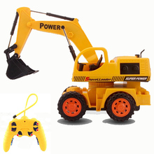 4CH RC hydraulic excavator wireless remote control toys Children's RC truck toys gifts rc tractor truck bulldozer brinquedos(China)