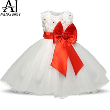 Red Christmas Girl Dress Wedding Princess Tutu Party Events Dresses For Teenage Girl Dress Ceremonies Bow Kids Children Clothes