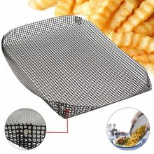 Reusable Non-stick Chip Mesh Oven Baking Tray Basket Grilling Pan Sheet Crisper Plate Dishes(China)