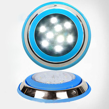 10pcs/lot New led round swimming spot lamp warm white white RGB 9W Ac12V LED Underwater Landscape Lamp Swimming Pool Wall Lamp(China)