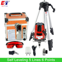 KaiTian Laser Level Tripod 5 Lines Detector Outdoor with Tilt Function 360 Rotary 635nM EU Self Leveling Cross Line Level China(China)